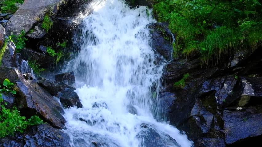 Mountain waterfall at summer green forest. Summer nature video #1020920038