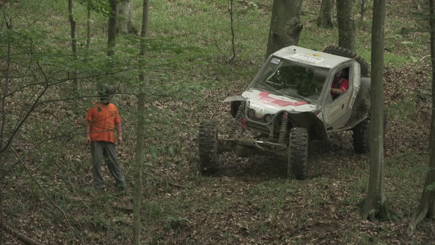 Carpathians, Romania - August, 2016: Offroad cars driving in the forest #1020922090