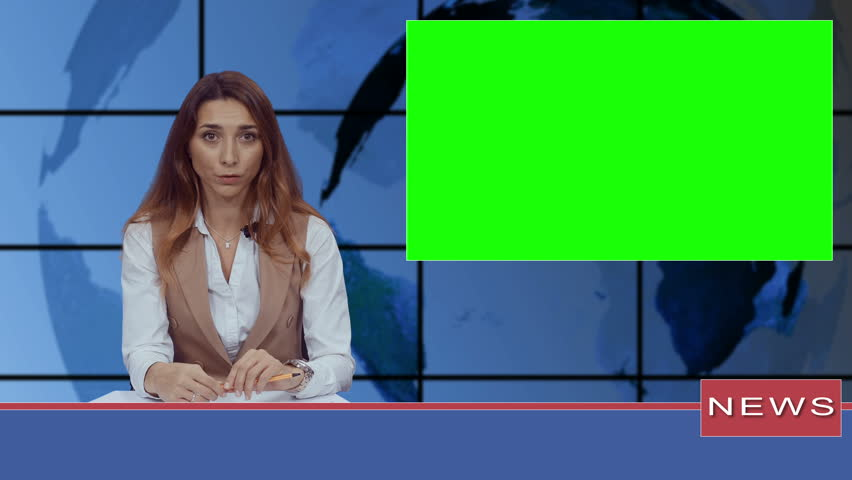 Female news presenter in broadcasting studio with green screen display for mockup usage