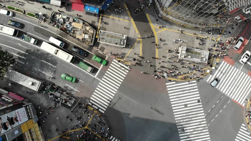 Drone footage of Shibuya Crossing in downtown Tokyo | Shutterstock HD Video #1020931456