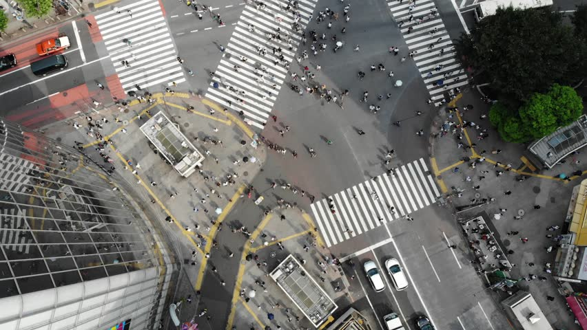Drone footage of Shibuya Crossing in downtown Tokyo | Shutterstock HD Video #1020931462