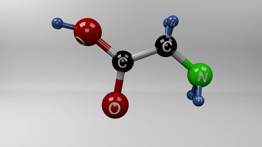 Glycine molecule. Molecular structure of glycine, non essential glucogenic amino acid, important component and precursor for many macromolecules in the cells. Alpha channel. Royalty-Free Stock Footage #1020948322