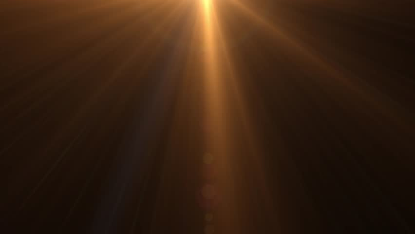 Isolated orange, yellow light rays animation. Shine or sun effect on black screen. Glitter, shiny, bright, flare footage.