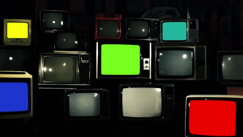 "Vintage Tvs with Color Screens Turning On. Aesthetics of the 80s. Iron Tone. Zoom Out. Ready to Replace Each Color Screens with any Footage or Picture you Want. You can do it with ""Keying"" Effect. 