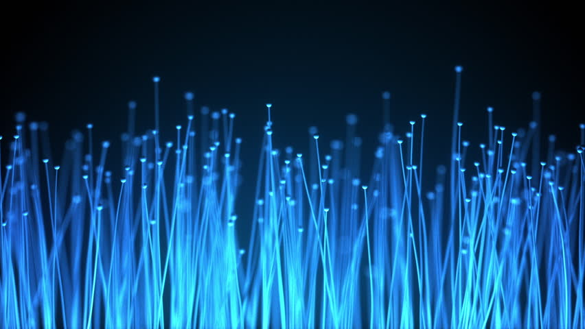 Abstract technology background. Optical fibers animation of distribution of the light signal from a diode towards a bunch. Used for high speed internet connection. Full HD seamless loop animation