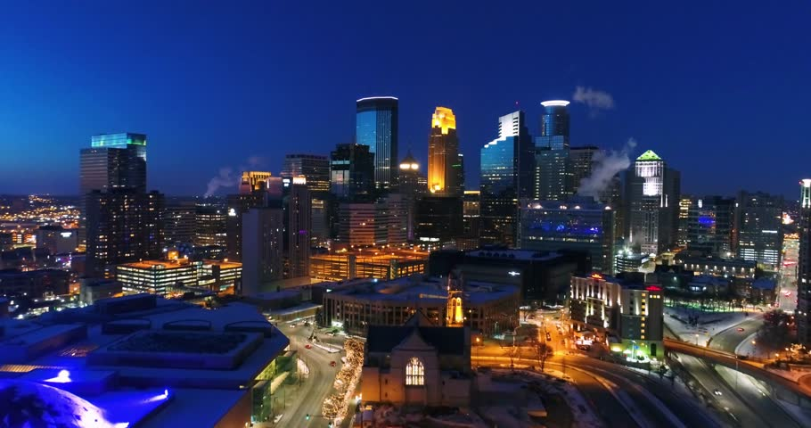 Aerial Cityscape at Night - Downtown Minneapolis | Shutterstock HD Video #1021011664