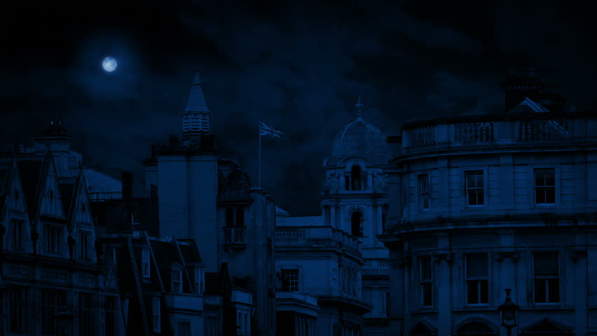 London Skyline With Flag Blowing At Night   Shutterstock HD Video #1021024429
