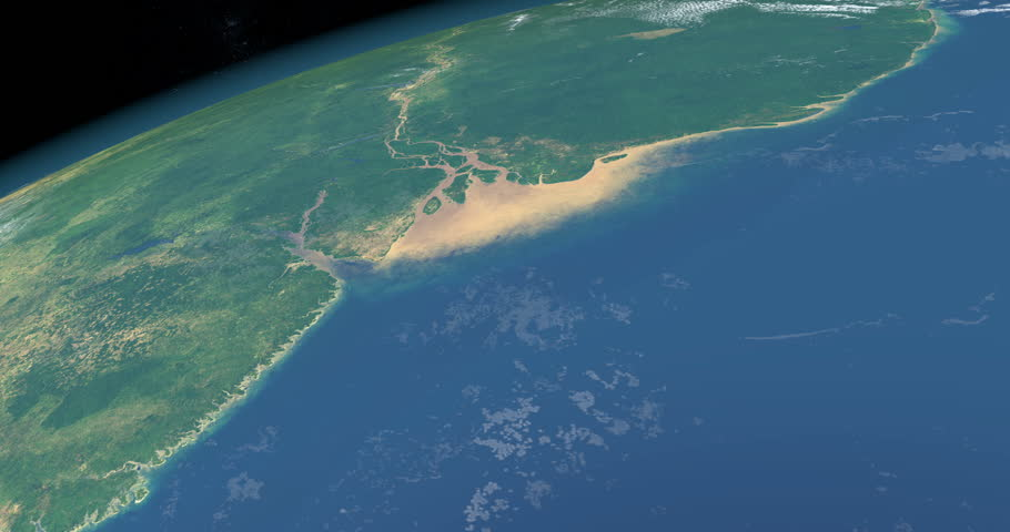 Delta and river mouth of Amazon river in Brazil, aerial view from outer space of earth planet Royalty-Free Stock Footage #1021031497