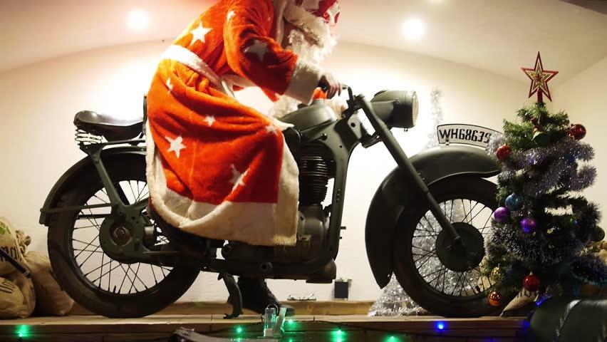 Santa on a motorcycle | Shutterstock HD Video #1021040275