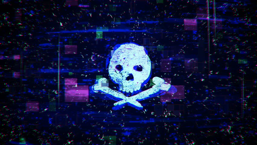 Skull shape with noise and glitching. Internet piracy and online security concept. Seamless loop animation