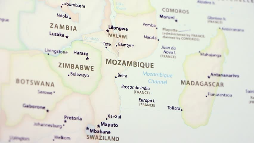 Mozambique on a political map of the world. Video defocuses showing and hiding the map. Royalty-Free Stock Footage #1021098571