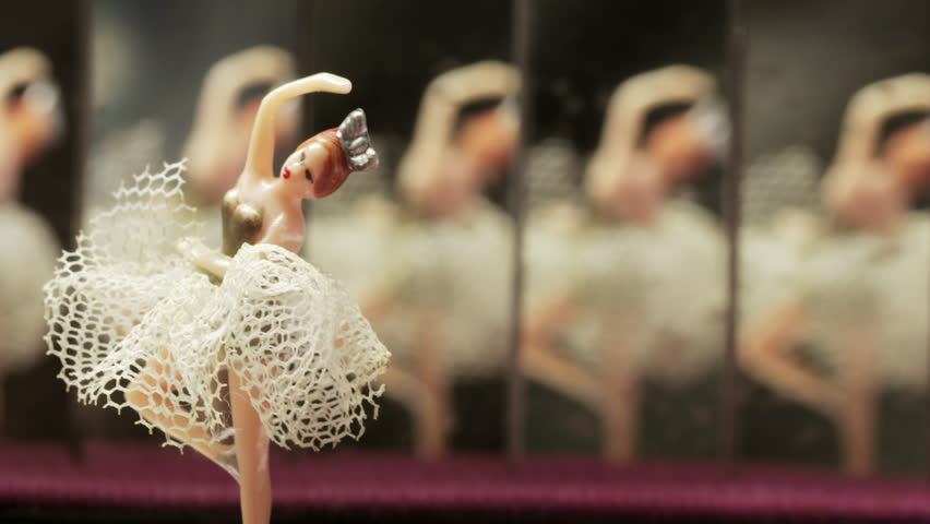 Vintage music box carillon with ballerina and mirrors   Shutterstock HD Video #1021104172