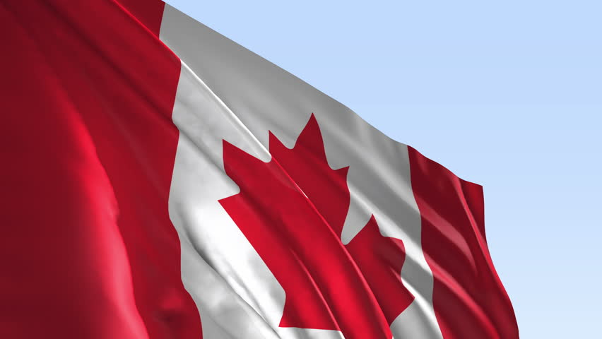 Canada flag, 3d animation, simulation, country flag, slow motion