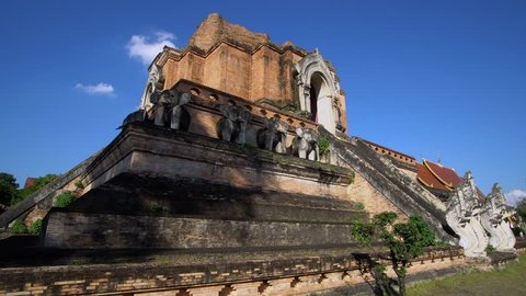 Chedi Luang in Chiang Mai, Thailand on Bright Sunny Day with Clear Blue Sky