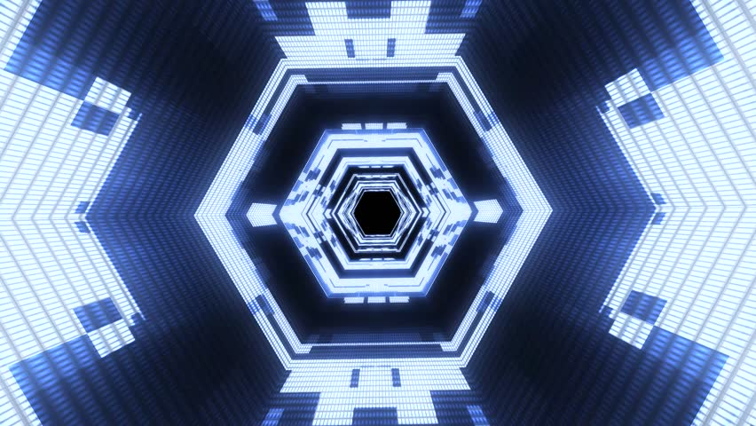 Flight in out neon lights cyber data hexagonal vr tunnel motion graphics animation background seamless loop new quality futuristic cool nice beautiful 4k stock video footage
