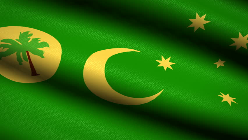 Cocos Islands Flag Waving Textile Textured Background. Seamless Loop Animation. Full Screen. Slow motion. 4K Video