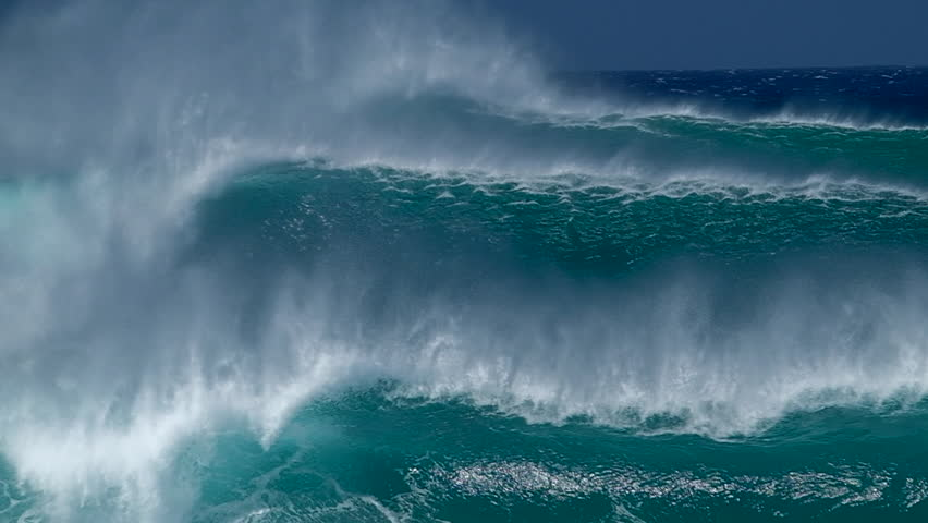 Slow motion clip of the furious waves breaking on the North Shore of Oahu, Pipeline surf spot, Hawaii