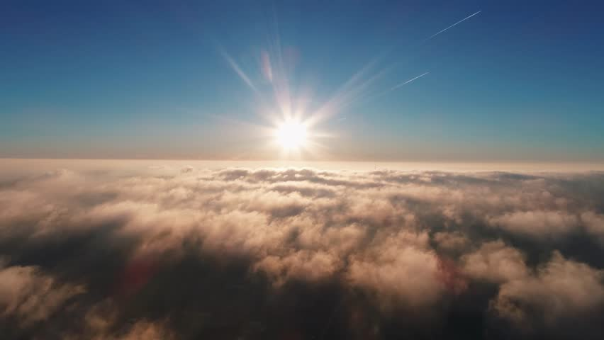 Morning flight over the city through the fog | Shutterstock HD Video #1021159489