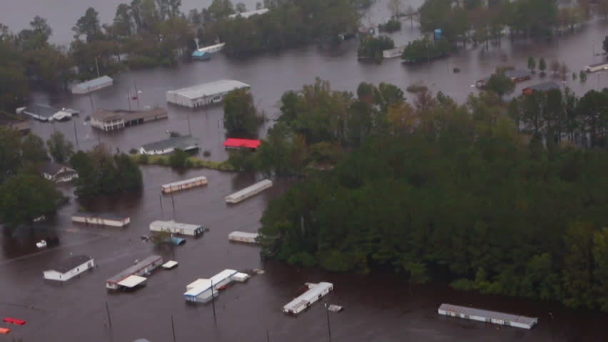 CIRCA 2018 - helicopter aerials over the flooding and damage destruction caused by Hurricane Florence in North Carolina.