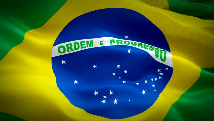 Brazil flag video waving in wind. Realistic Brazilian Flag background. Brazil Flag Looping Closeup 1080p Full HD 1920X1080 footage. Brazil EU European country flags/ Other HD flags available  | Shutterstock HD Video #1021170640