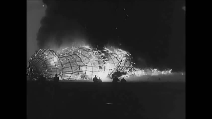 CIRCA 1937 - The Hindenburg is engulfed in flames as it comes in for its Lakehurst landing.