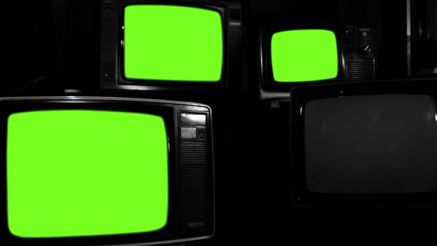 """Old Tvs Turning On Green Screen. Black and White Tone. Ready to Replace Screens with any Footage or Picture you Want. You can do it with """"Keying"""" (Chroma Key) effect. 