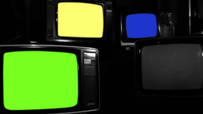 """Old Tvs Turning On Different Chroma Screen. Black and White Tone. Ready to Replace Chroma Screens with any Footage or Picture you Want. You can do it with """"Keying"""" (Chroma Key) effect. 