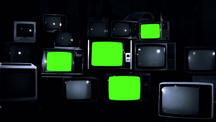 "Old Tvs Turning Off Green Screen. Black and White Tone. Ready to Replace Green Screens with any Footage or Picture you Want. You can do it with ""Keying"" (Chroma Key) effect in Adobe After Effects. 