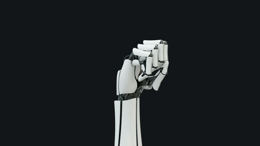 The camera moves slowly around the arm of the robot, the hand opens the fingers.Has alpha matte.Close up