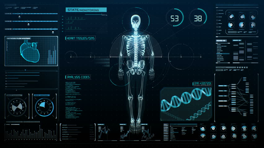 Rotating Human skeletal structure in digital display, UI,  Scanning bone system, Future medical technology. 4k animation.