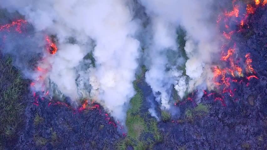 4K, Aerial view smoke of wildfire  | Shutterstock HD Video #1021215052