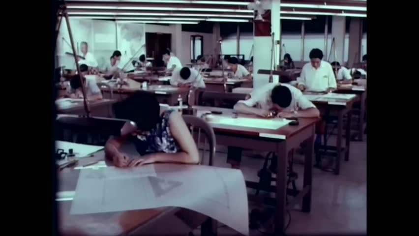 CIRCA 1960s - People work making maps of Central and South America for the US army in the 1960s - | Shutterstock HD Video #1021266577