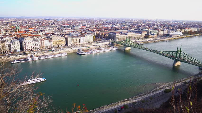 Budapest. View from above. River and bridge. Panorama. Camera movement from left to right. | Shutterstock HD Video #1021280455