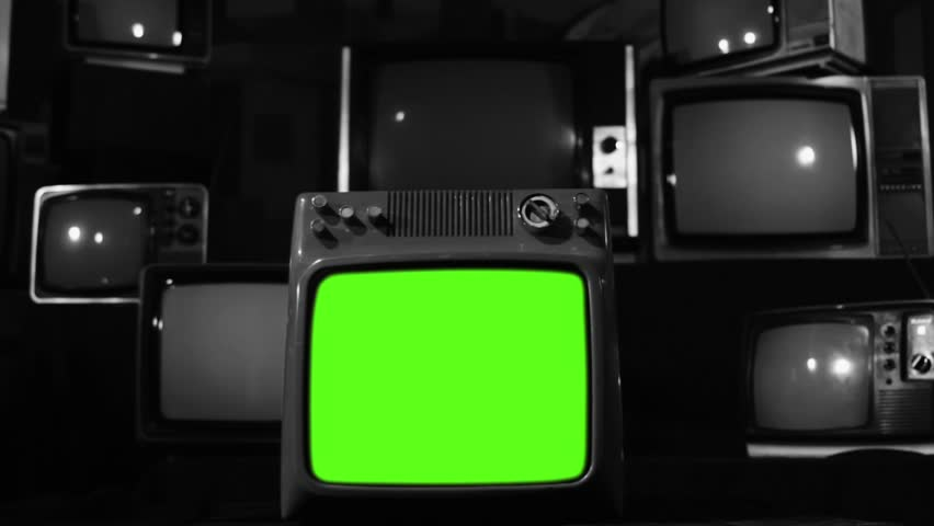 "Vintage Tv Turning Off Green Screen. Black and White Tone. Zoom Out. Ready to replace green screen with any footage or picture you want. You can do it with ""Keying"" (Chroma Key) effect. 