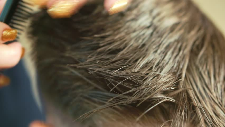 Close up of Hands of the hairdresser who cuts the hair of the boy in the hairdressing salon.   Shutterstock HD Video #1021298830