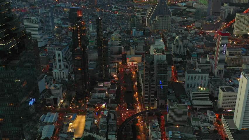 BANGKOK THAILAND - DECEMBER 16 : aerial view of Sathorn road in heart of Bangkok capital on December 30 , 2018 in Bangkok, Thailand. | Shutterstock HD Video #1021304908
