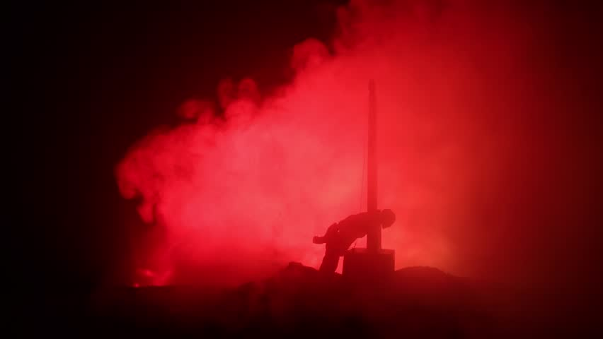 Horror view of Guillotine. Human at guillotine on a dark foggy background. Execution concept   Shutterstock HD Video #1021321630