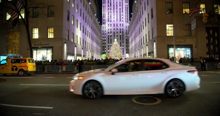 NEW YORK - DECEMBER 4, 2018: Christmas season in New York City Rockefeller Center on December 4, at New York City, NY.