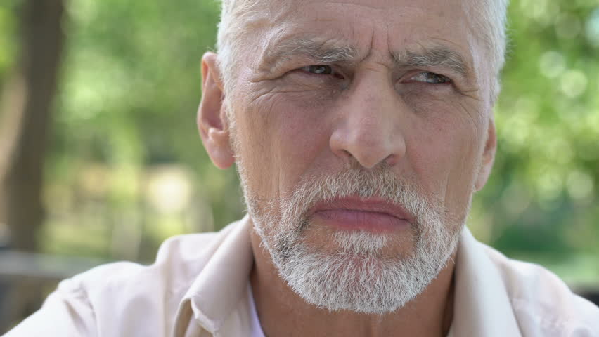 Retired man suffering from toothache, discomfort with implants, dental care #1021330795