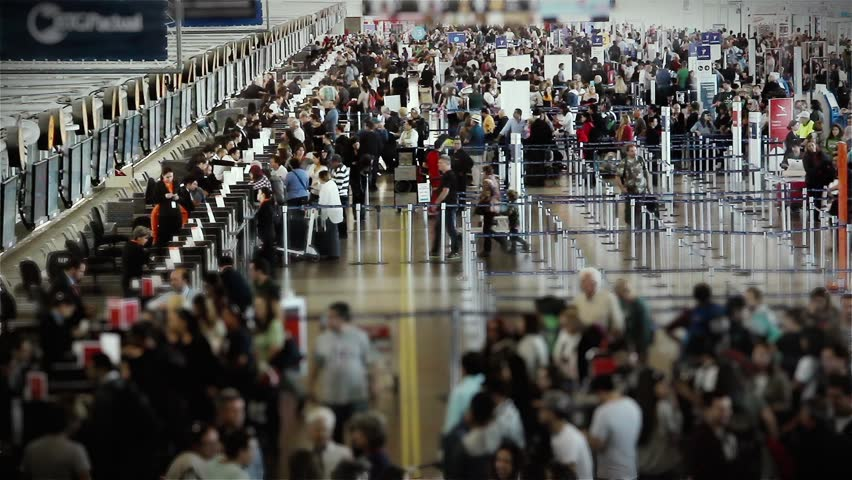 Santiago de Chile, Chile: March 2020: Departure Lounge, Santiago International Airport (Arturo Merino Benitez International Airport), Santiago De Chile, Chile. Time Lapse. Zoom In.
