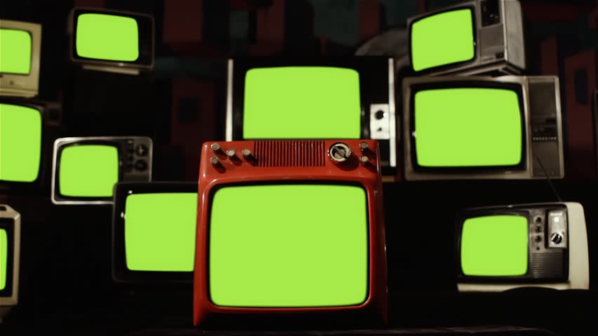 "Vintage TVs Turning On and Off Green Screens. You can replace green screen with the footage or picture you want. You can do it with ""Keying"" effect in After Effects (check out tutorials)."
