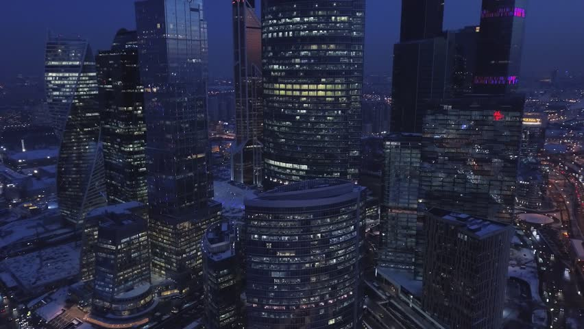 Aerial Moscow City Business Center Skyscrapers Night Metropolis Traffic. International Business Center as commercial district in Moscow. The tallest buildings in Europe | Shutterstock HD Video #1021345486