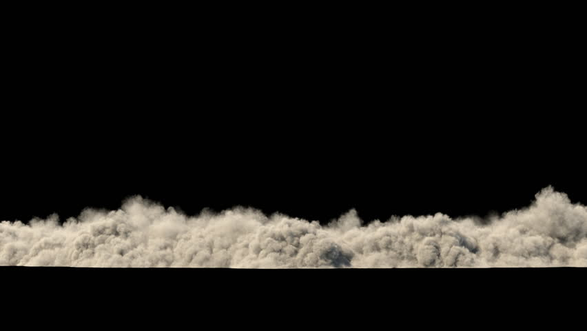 Dust clouds from the destruction of the building / Sand storm / Explosion smoke. Separated on pure black background, contains alpha channel.