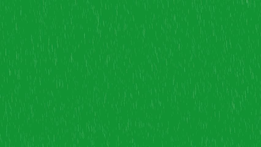 Rain falling on the green screen
