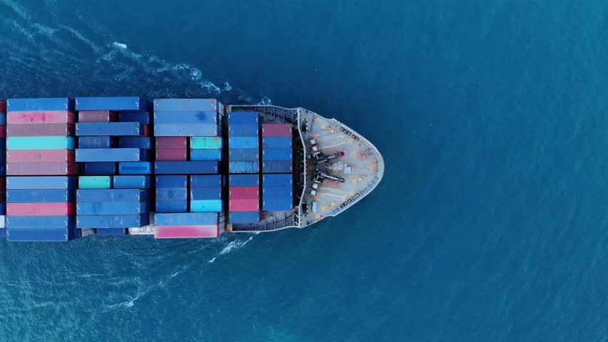 Aerial top view of cargo container ship vessel import export container in the ocean. #1021382983