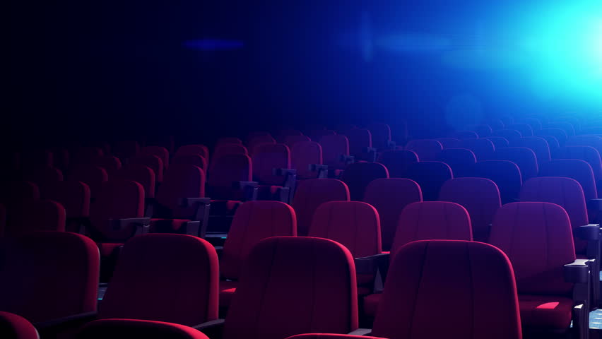 Cinema Theater With Comfortable Red Chairs. Empty Cinema Seats in Dark Theatre for Movies. Seamless Loop. | Shutterstock HD Video #1021392772