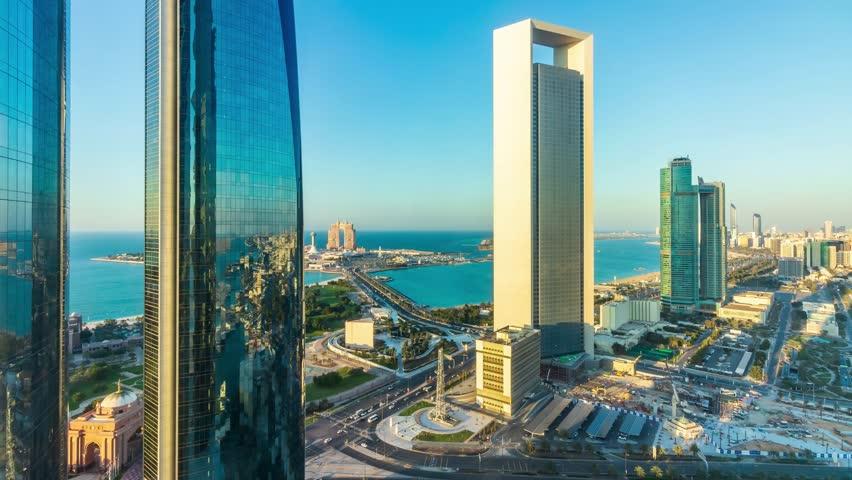 Timelapse Video of Abu Dhabi Skyline during Sunset. Abu Dhabi - UAE. 16 December 2018