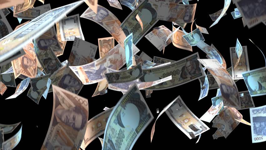 Falling Ecuador money banknotes Video Effect simulates Falling Mixed Ecuador Money banknotes with alpha channel (transparent background) in 4k resolution  | Shutterstock HD Video #10214258