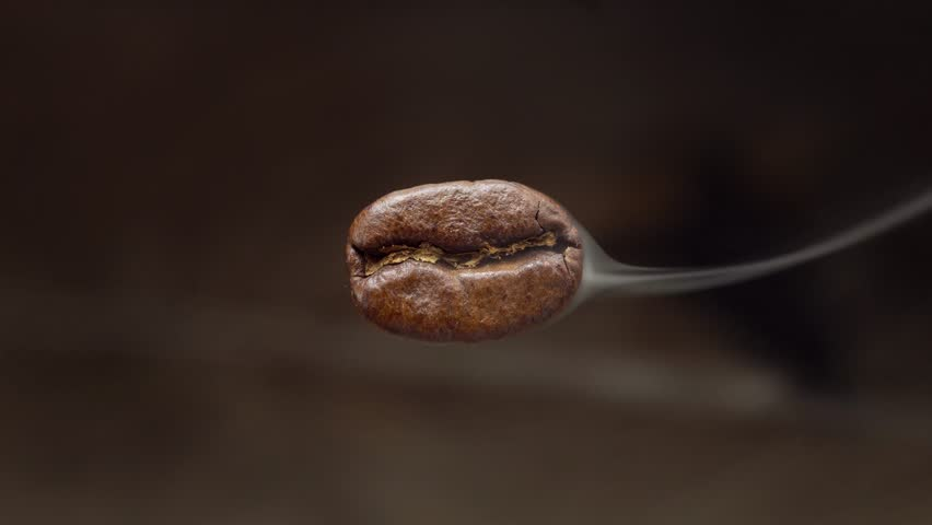 The flying macro coffee bean is steaming. Macro shot. Below is a blurred coffee background. | Shutterstock HD Video #1021452121