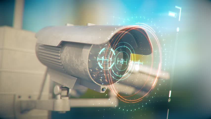 several security cameras investigate people with the help of artificial intelligence. Sorted Data is displayed on top of the screen in a colorful information style. Royalty-Free Stock Footage #1021473583